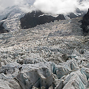 Running on the Glacial, at Jonction, Chamonix, France