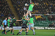 Harlequins back row Chris Robshaw (7) wins line out ball during the Gallagher Premiership Rugby match between Northampton Saints and Harlequins at Franklins Gardens, Northampton, United Kingdom on 1 November 2019.