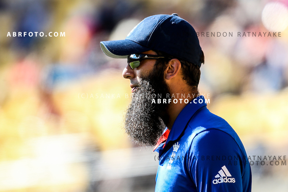 Moeen Ali during the 2015 ICC Cricket World Cup Pool A group match between England Vs Sri Lanka at the Wellington Regional Stadium, Wellington, New Zealand.