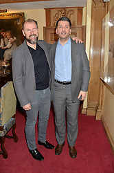 Left to right, CHRIS GALVIN and JEFF GALVIN at lunch at a lunch hosted by Fortnum & Mason, Piccadilly, London on 29th January 2015 in honour of Marco Pierre White and the publication of White Heat 25.