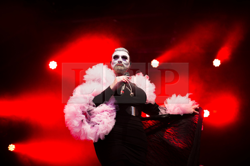 © Licensed to London News Pictures . 26/08/2016 . Manchester , UK . DANNY BEARD performs on the Main Stage in Manchester's Gay Village for 2016 Manchester Gay Pride Big Weekend . Photo credit : Joel Goodman/LNP