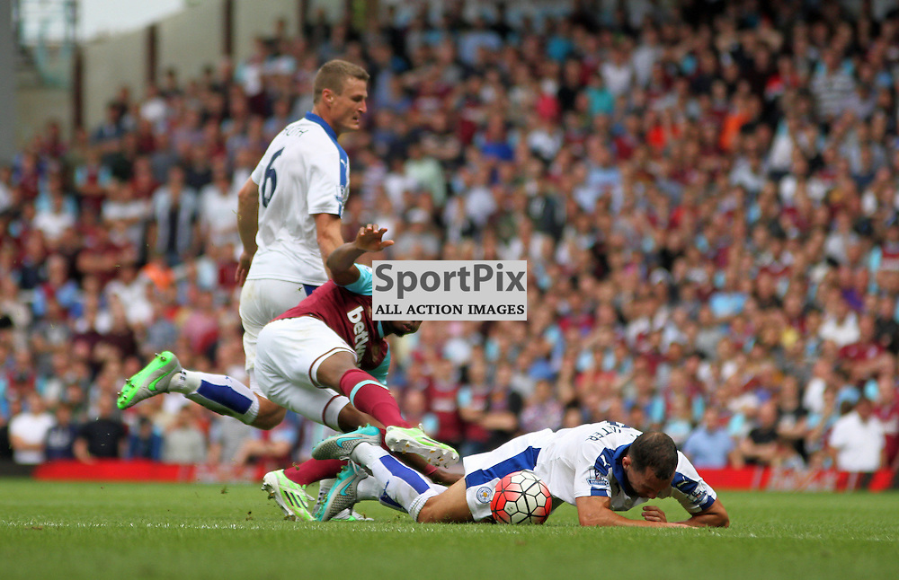 Diafra Sakho is fouled by Robert Huth During West Ham United vs Leicester City on Saturday the 16th August 2015.