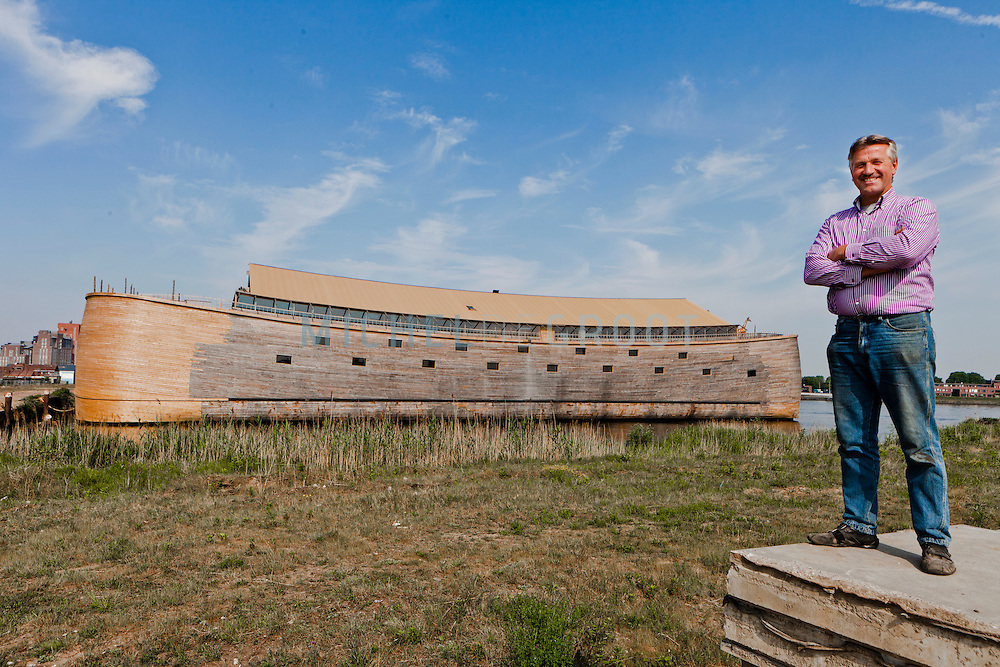 John Huibers Pictured with his Noah's Ark. A full-sized replica of the biblical Noah's Ark has been built by a Dutch man, complete with model animals, and a four story theatre..Dutch creationist Johan Huibers built the ark as testament to his literal belief in the Bible. After three years of building the Ark should be finished in July. He expects to get around 400.000 visitors a year. Dordrecht, Mei 2011