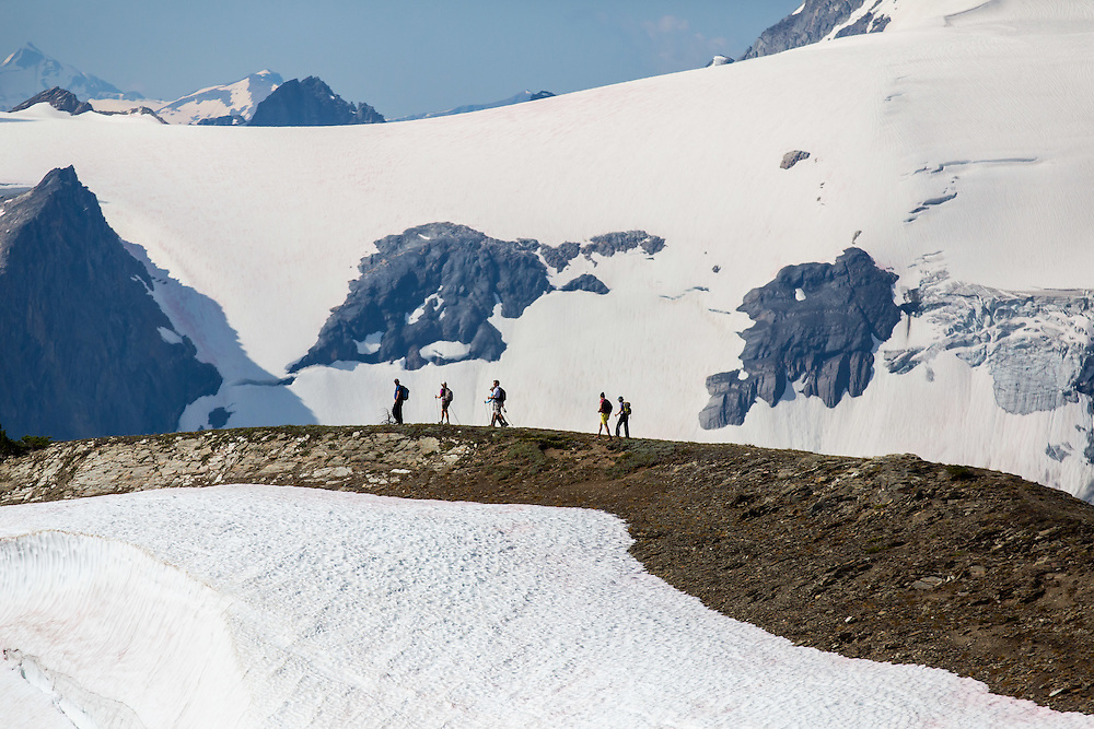 Hiking with a helicopter in the Bugaboo Mountains, British Columbia, Canada