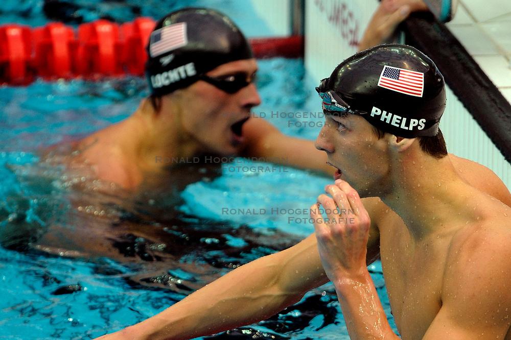 15-08-2008 ZWEMMEN: OS 2008 ZWEMMEN: BEIJING<br /> Mark Phelps USA en Ryan Lochte USA<br /> ©2008-WWW.FOTOHOOGENDOORN.NL