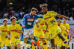 April 8, 2018 - Naples, Italy - Dries Mertens (SSC Napoli) AND Samuel Bastien (Chievo Verona)..during the Italian Serie A football SSC Napoli v Chievo Verona at S. Paolo Stadium..in Naples on April 08, 2018  (Credit Image: © Paolo Manzo/NurPhoto via ZUMA Press)