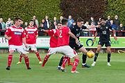 Dundee&rsquo;s Cedwyn Scott is crowded out - Brechin City v Dundee pre-season friendly at Glebe Park, Brechin, <br /> <br /> <br />  - &copy; David Young - www.davidyoungphoto.co.uk - email: davidyoungphoto@gmail.com