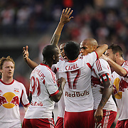 New York Red Bulls celebrate a gold from Bradley Wright-Phillips  during the New York Red Bulls Vs Chicago Fire, Major League Soccer regular season match at Red Bull Arena, Harrison, New Jersey. USA. 10th May 2014. Photo Tim Clayton