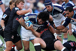 Rene Ranger of The Blues during the Super15 match between The Mr Price Sharks and The Blues held at Mr Price Kings Park Stadium in Durban on the 26th February 2011..Photo By:  Ron Gaunt/SPORTZPICS