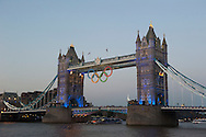 © Copyright by Stefan Reimschuessel. .All Rights Reserved..stefan@reimsphotography.com.http://reimsphotography.com/.Olympic rings at Tower Bridge the evening before the opening ceremony. London. July 26, 2012 in London, England.