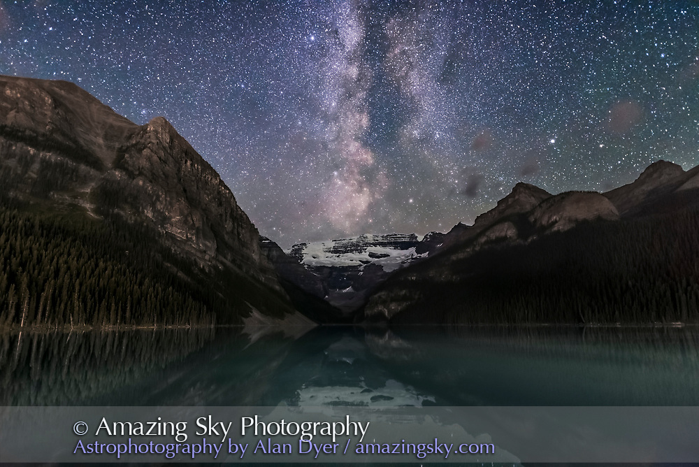 The summer Milky Way to the southwest over Victoria Glacier and Lake Louise in Banff National Park, Alberta on a moonless night, August 29, 2016. The bright star at top is Altair, with the stars of Aquila being the main constellation here, with the Scutum starcloud just over the glacier and the stars of Ophiuchus to the right. The Serpens-Ophiuchus Double Cluster is prominent here just to the right of the Milky Way. <br /> <br /> Mt. Fairview to the left and others are partly illuminated by light spill from the Chateau Lake Louise and from highway lights in the valley below. <br /> <br /> This is a stack of 16 exposures for the ground, averaged to smooth noise by a factor of 3 stops, and one exposure for the sky, all 10 seconds at f/2 with the 20mm Sigma Art lens, and at ISO 6400 with the Nikon D750. All untracked and shot as part of a time-lapse sequence at a fairly high ISO and fast shutter speed, to capture the rapid cloud motion, and to capture 300 frames in under an hour before the Milky Way got too far advanced to the north. These frames are taken from a time with minimal cloud and the Milky Way in its best position over the glacier.