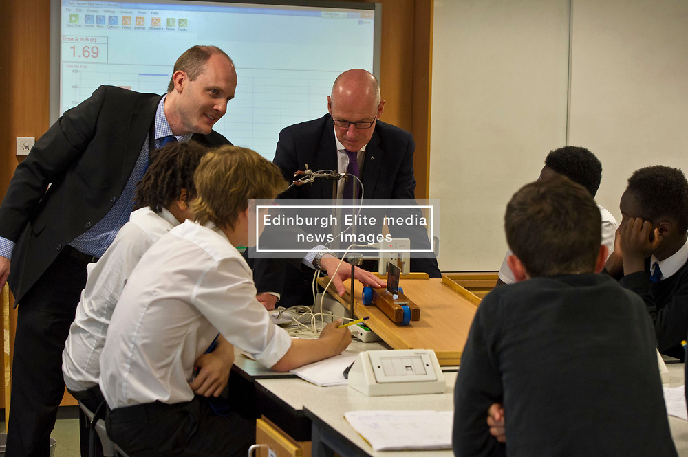 Pictured: John Swinney joined in a third year physics class led by head of science David Dalglish<br /> <br /> Deputy First Minister and Education Secretary John Swinney visited St Augiustine's RC High School in Edinburgh to speak to young people about attainment and leaving schools with the suite of statistics published today. St Augustine's RC High School<br /> <br /> <br /> Ger Harley | EEm 19 June 2018