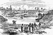 Panama Canal: Scene during the de Lesseps attempt to dig the canal, showing West Indian labourers purchasing refreshment. Wood engraving 1888.