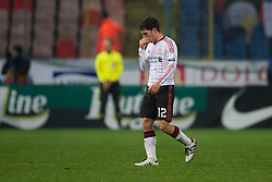 BUCHAREST, ROMANIA - Thursday, December 2, 2010: Liverpool's Dani Pacheco walks off as his is substituted during the UEFA Europa League Group K match against FC Steaua Bucuresti at the Stadionul Steaua. (Pic by: David Rawcliffe/Propaganda)