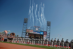 October 19, 2010; San Francisco, CA, USA; The San Francisco Giants stand during the national anthem before game three of the 2010 NLCS against the Philadelphia Phillies at AT&T Park.
