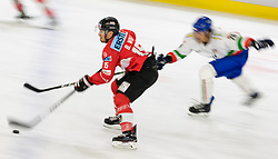 12.04.2018, Tiroler Wasserkraft Arena, Innsbruck, AUT, Eishockey Testspiel, Österreich vs Italien, während dem Eishockey Testspiel Österreich vs Italien am Donnerstag, 12. April 2018 in Innsbruck, im Bild v.l.: Bernd Wolf (AUT) und Ivan Deluca (ITA) // during the International Icehockey Friendly match between Austria and Italy at the Tiroler Wasserkraft Arena in Innsbruck, Austria on 2018/04/12. EXPA Pictures © 2018, PhotoCredit: EXPA/ Jakob Gruber