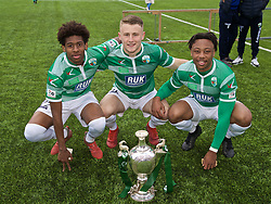 RHOSYMEDRE, WALES - Sunday, May 5, 2019: The New Saints Kane Lewis, Jack Bodenham and Joash Nembhard celebrate with the trophy after the FAW JD Welsh Cup Final between Connah's Quay Nomads and The New Saints at The Rock. The New Saints won 3-0. (Pic by David Rawcliffe/Propaganda)