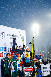 March 16, 2019 - –Stersund, Sweden - 190316 Johannes Thingnes Bø, Tarjei Bø, Vetle SjÃ¥stad Christiansen and  Lars Helge Birkeland of Norway celebrate after the Men's 4x7,5 km Relay during the IBU World Championships Biathlon on March 16, 2019 in Östersund..Photo: Johan Axelsson / BILDBYRÃ…N / Cop 245 (Credit Image: © Johan Axelsson/Bildbyran via ZUMA Press)