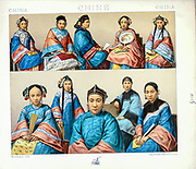 Ancient Chinese fashion and accessories from Geschichte des kostüms in chronologischer entwicklung (History of the costume in chronological development) by Racinet, A. (Auguste), 1825-1893. and Rosenberg, Adolf, 1850-1906, Volume 1 printed in Berlin in 1888