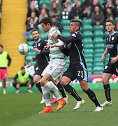 Dundee's Luka Tankulic grapples with Celtic's Nir Biton -  Celtic v Dundee - SPFL Premiership at Celtic Park<br /> <br /> <br />  - © David Young - www.davidyoungphoto.co.uk - email: davidyoungphoto@gmail.com