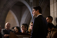 Prime Minister Justin Trudeau holds an emergency press conference in the Parliament's foyer to address the verdict of guilt by the ethics commissionner on the family vacation paid for by the Aga Khan.