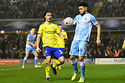 Coventry City striker Max Biamou (9) controls under pressure from Birmingham City midfielder Ivan Sunjic (34) during the The FA Cup match between Coventry City and Birmingham City at the Trillion Trophy Stadium, Birmingham, England on 25 January 2020.