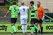 Forest Green Legends goalkeeper Steve Perrin  makes a save from Trevor Horsley XI Stuart Fleetwood during the Trevor Horsley Memorial Match held at the New Lawn, Forest Green, United Kingdom on 19 May 2019.