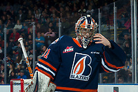 KELOWNA, BC - DECEMBER 27:  Dylan Garand #31 of the Kamloops Blazers skates during a time out against the Kelowna Rockets at Prospera Place on December 27, 2019 in Kelowna, Canada. (Photo by Marissa Baecker/Shoot the Breeze)
