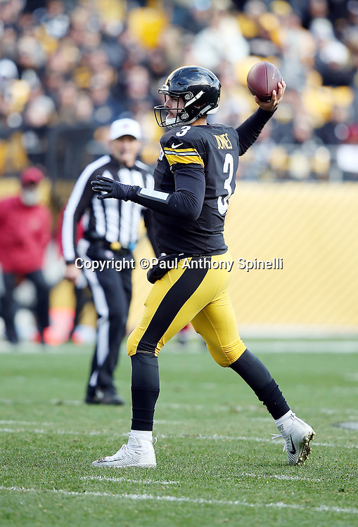 Pittsburgh Steelers quarterback Landry Jones (3) throws a pass during the 2015 NFL week 6 regular season football game against the Arizona Cardinals on Sunday, Oct. 18, 2015 in Pittsburgh. The Steelers won the game 25-13. (©Paul Anthony Spinelli)