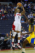 Team USA forward Seimone Augustus pulls up for a jumper during the 2012 USA Women's Basketball Team versus Brazil at Verizon Center in Washington, DC.  July 16, 2012  (Photo by Mark W. Sutton)