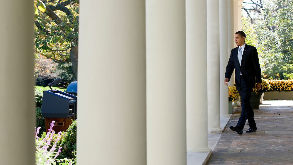 President Barack Obama walks to the podium to speak in the Rose Garden of the White House in Washington, DC in November 2009.