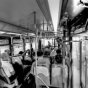 On a ride to downtown on the Main Street MAX bus line, Kansas City, Missouri.
