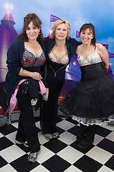 "© Licensed to London News Pictures. 12/05/2012. London, England. L-R: actress Harriet Thorpe, actress Jennifer Saunders and Nina Barough, founder and CEO of Walk the Walk. Members of Jen's Big Tits Team. The MoonWalk London 2012, Celebrating 15 years of Moon Walking for the breast cancer charity ""Walk the Walk"". Photo credit: Bettina Strenske/LNP"