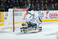 KELOWNA, CANADA - MARCH 18: Logan Flodell #31 of Seattle Thunderbirds makes a save against the Kelowna Rockets on March 18, 2015 at Prospera Place in Kelowna, British Columbia, Canada.  (Photo by Marissa Baecker/Shoot the Breeze)  *** Local Caption *** Logan Flodell;