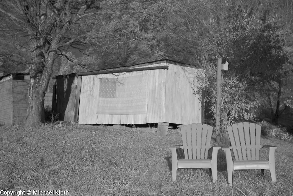 Firefly Farm slice of Americana.  Infrared (IR) photograph by fine art photographer Michael Kloth. Black and white infrared photographs
