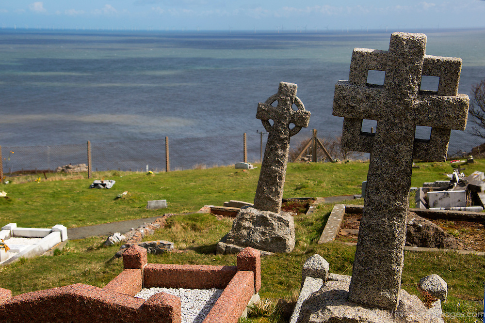 Europe, United Kingdom, Wales, Conwy. Celtic crosses at St. Tudno churchyard on the Great Orme, Wales.