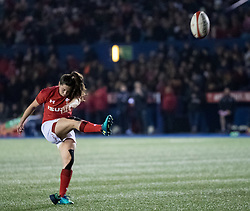 Robyn Wilkins of Wales Women converts<br /> <br /> Photographer Simon King/Replay Images<br /> <br /> Friendly - Wales Women v Hong Kong Women - Friday  16th November 2018 - Cardiff Arms Park - Cardiff<br /> <br /> World Copyright © Replay Images . All rights reserved. info@replayimages.co.uk - http://replayimages.co.uk