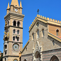Cathedral of Messina in Messina, Italy<br /> The gorgeous Gothic façade of the Cathedral of Messina is an architectural history book. The basilica was originally built in the 12th century by the Normans. The entrances date back to the early 15th century and the tympanum was finished a few decades later. The Duomo of Santa Maria Assunta was extensively rebuilt after successive damage from a 1908 earthquake and then WWII bombings. The astronomical clock was installed in 1933.