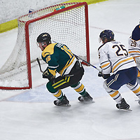 5th year forward, Zach McPhee (16) of the Regina Cougars during the Men's Hockey Home Game on Fri Oct 12 at Co-operators Center. Credit: Arthur Ward/Arthur Images