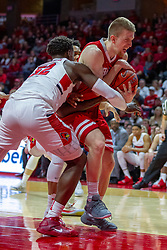 NORMAL, IL - February 16: Milik Yarbrough wraps up Luuk Van Bree looking to gain possession of the ball during a college basketball game between the ISU Redbirds and the Bradley Braves on February 16 2019 at Redbird Arena in Normal, IL. (Photo by Alan Look)