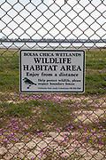 Wildlife Habitat Area sign, Bolsa Chica Ecological Reserve, Orange County, California, USA