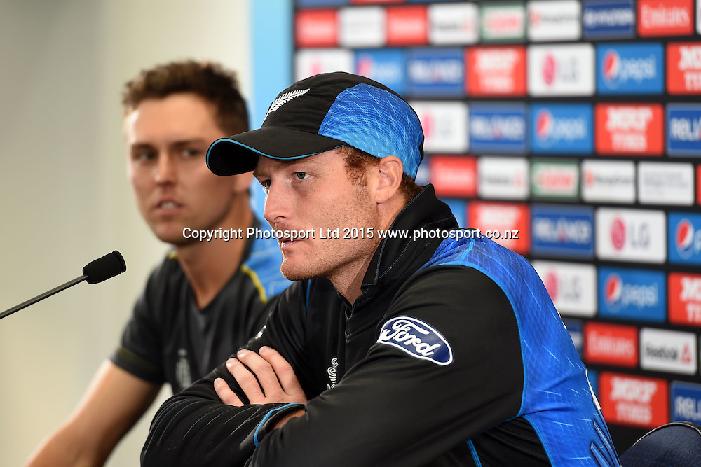 New Zealand's record breaking double century maker Martin Guptill and tournament's highest wicket taker after the quaterfinals stage Trent Boult at the press conference after New Zealand's win against West Indies at the ICC Cricket World Cup Quaterfinal match between New Zealand and West Indies at Westpac Stadium in Wellington, New Zealand. Saturday 21  March 2015. Copyright Photo: Raghavan Venugopal / www.photosport.co.nz