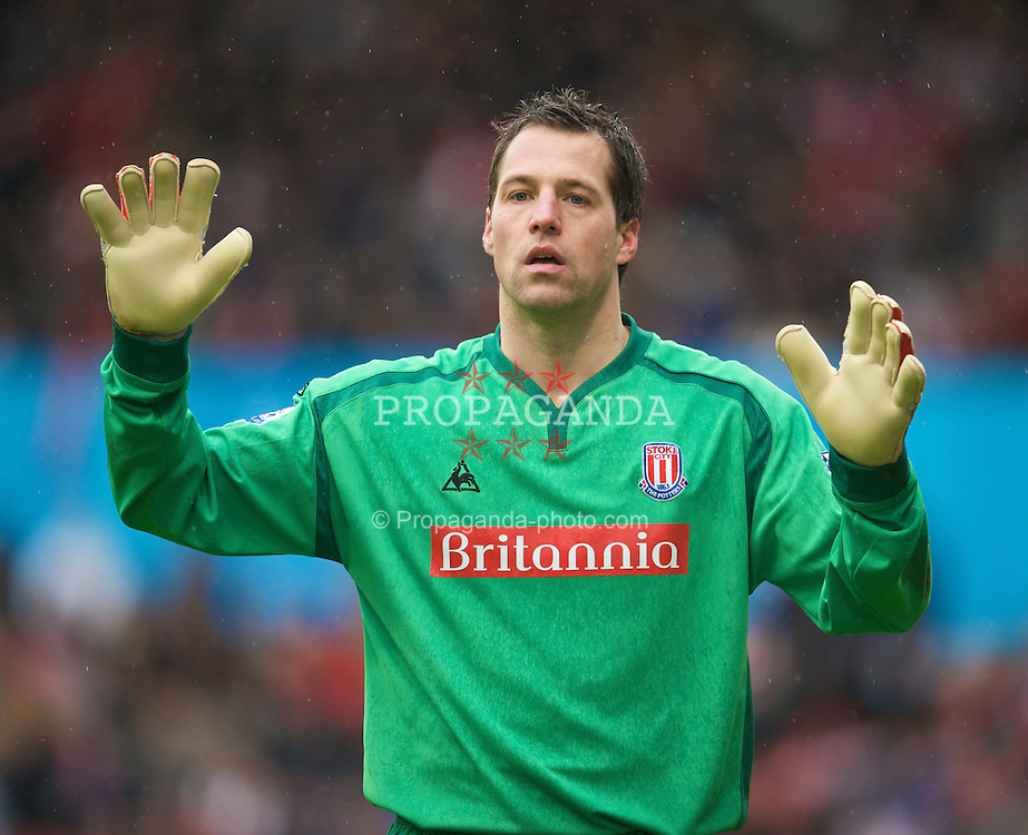 STOKE, ENGLAND - Sunday, January 24, 2010: Stoke City's goalkeeper Thomas Sorensen in action against Arsenal during the FA Cup 4th Round match at the Britannia Stadium. (Photo by David Rawcliffe/Propaganda)