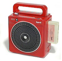 red portable eight track player - no logos