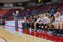 03 January 2014:  Head Coach Barb Smith calls in a play during an NCAA women's basketball game between the Drake Bulldogs and the Illinois Sate Redbirds at Redbird Arena in Normal IL