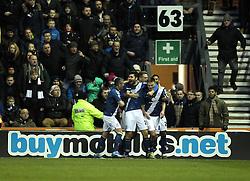 Birmingham City celebrate Stephen Gleeson's goal - Mandatory byline: Robbie Stephenson/JMP - 16/01/2016 - FOOTBALL - iPro Stadium - Derby, England - Derby County v Birmingham City - Sky Bet Championship