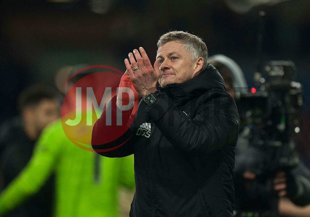 Manchester United manager Ole Gunnar Solskaer applauds the fans at the final whistle - Mandatory by-line: Jack Phillips/JMP - 28/12/2019 - FOOTBALL - Turf Moor - Burnley, England - Burnley v Manchester United - English Premier League
