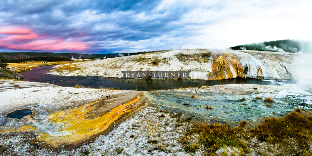 Hotsprings and hot pots along the Firehole river in Yellowstone National Park.  Limited Edition - 75