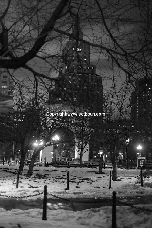 New York , Washington square, park garden at night