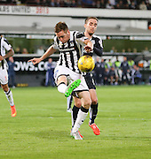 Dunfermline's Lewis Martin clears from Dundee's Nick Ross - Dunfermline Athletic v Dundee - Scottish League Cup at East End Park<br /> <br />  - © David Young - www.davidyoungphoto.co.uk - email: davidyoungphoto@gmail.com